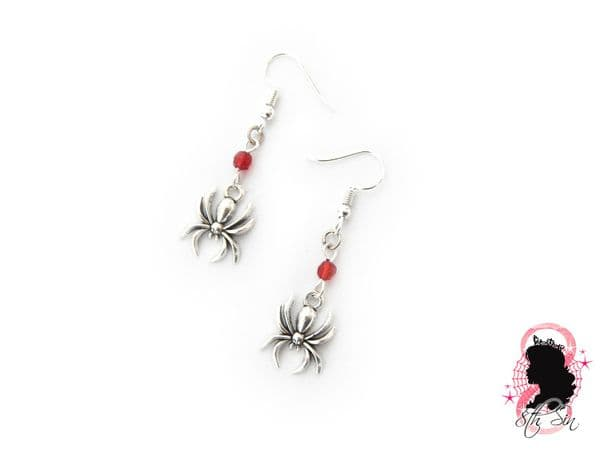Antique Silver Spider Earrings